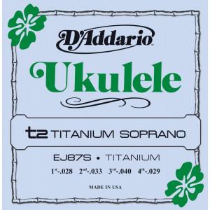 D'Addario J87S Ukulele strängar. Sopran. Titanium