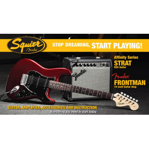 Squier Strat® Elgitarrpaket HSS Fender Frontman Candy Apple R