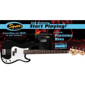 Squier Affinity P-Bass + Rumble 15W Black Rumble Pack