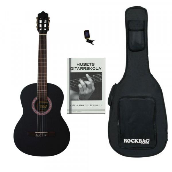 Husets Gitarr 3/4-Storlek Nybörjarpaket , Svart