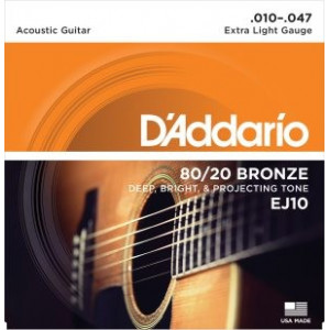 D'Addario EJ10 80/20 Bronze Extra Light .010