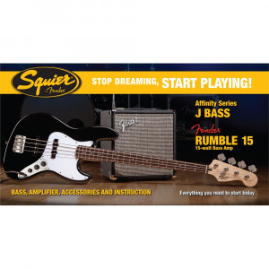 SQUIER AFFINITY SERIES JAZZ BASS® MED FENDER® RUMBLE™ 15 AMP Elbaspaket
