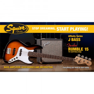 Squier Affinity Series Jazz Bass® med Fender® Rumble™ 15 Amp, Sunburst Elbaspaket