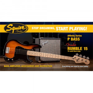 SQUIER AFFINITY SERIES PRECISION BASS® MED FENDER® RUMBLE™ 15 AMP, Sunburst Elbaspaket