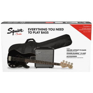 Squier Affinity Series Precision Bass PJ Pack Svart